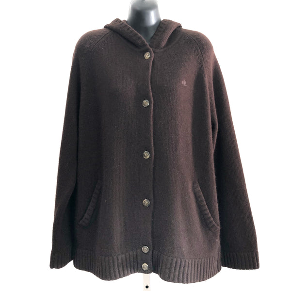 Lauren Ralph Lauren Cashmere Wool Angora Blend Equestrian Button Up Hooded Cardigan Sweater
