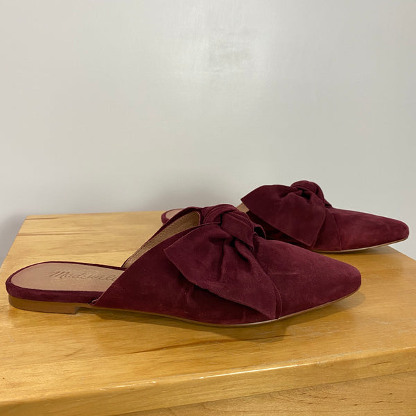 MADEWELL Remi Bow Mule Flats Slides Pinot Noir Trending Cute Size 6