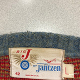 60s Vintage Jantzen Blue/Red Elf Suspenders Knit Sweater Made In USA Large
