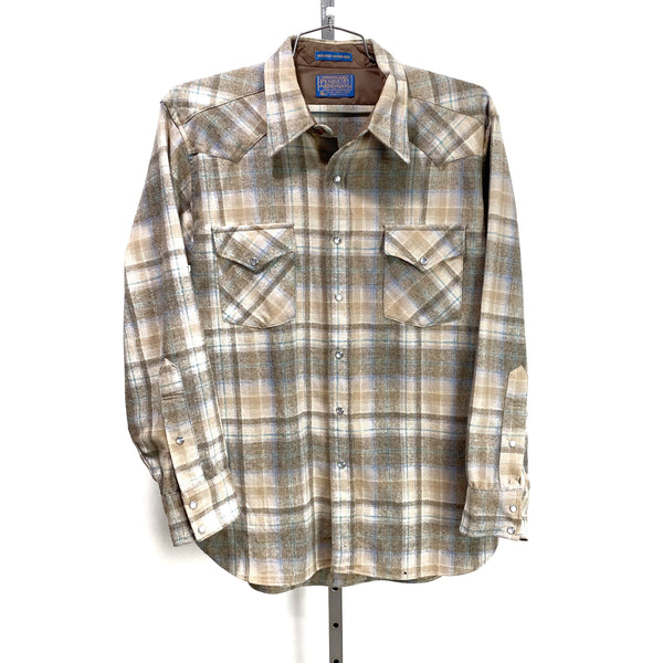 PENDLETON Western Wear Pearl Snap Button Long Sleeve USA Made LARGE Gray Camel Aqua Plaid