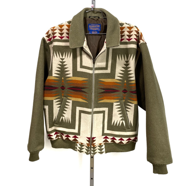 PENDLETON Chief Joseph Wool Bomber USA MADE Olive Tan Red Orange Men's XL