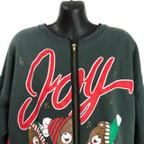 Vintage Hanes Her Way Joy! To The World Teddy Bears Caroling Green Zip Up Sweater XL
