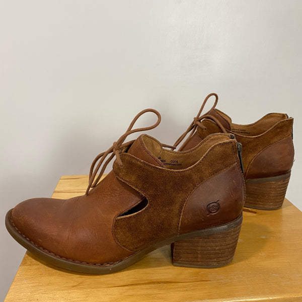 BORN Women's Size 8M Celia Cut-out Bootie Shootie Brown Leather Ankle Boots