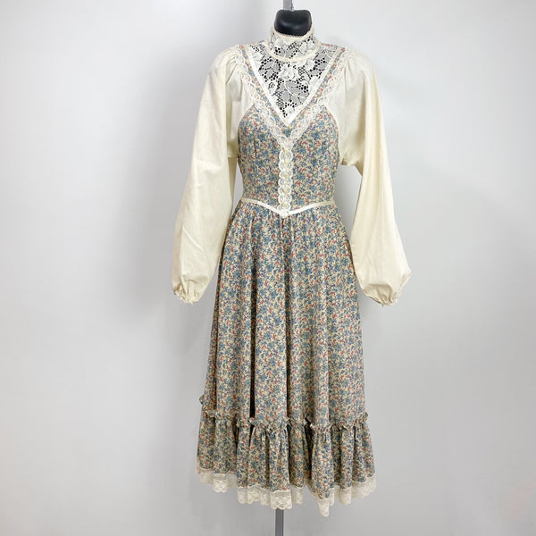 "Vintage Prairie Boho ""Gunne Sax"" Style Floral Calico Lace Detail Maxi Dress SMALL"