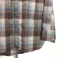 PENDLETON Western Wear Pearl Snap Button Long Sleeve USA Made LARGE Gray Brown Aqua Plaid