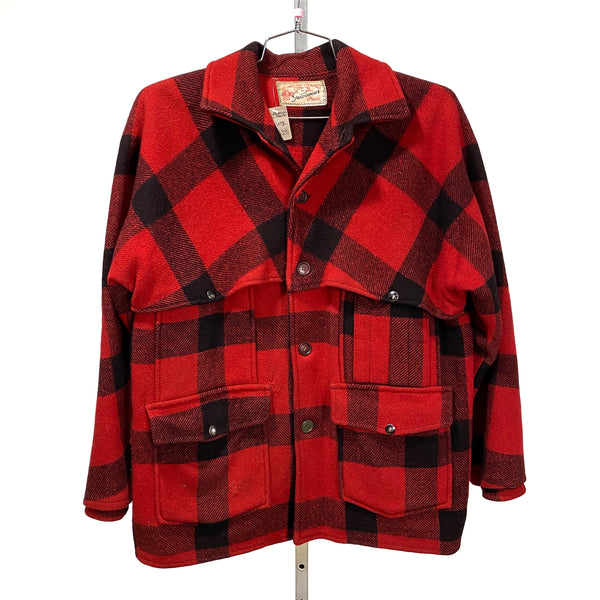 1950's Vintage HERCULES SEARS Outerwear Buffalo Plaid Red Black Mackinaw LARGE