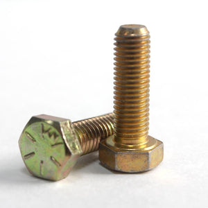 "1/2-13 x 1-1/2"" Grade 8 USS Coarse  Yellow Zinc Finish Hex Cap Screw-Fully Threaded"