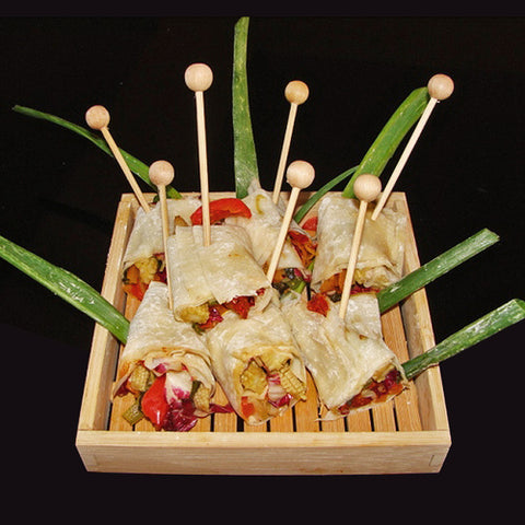 Consider using ball skewers for appetizers that will not be grilled or roasted.