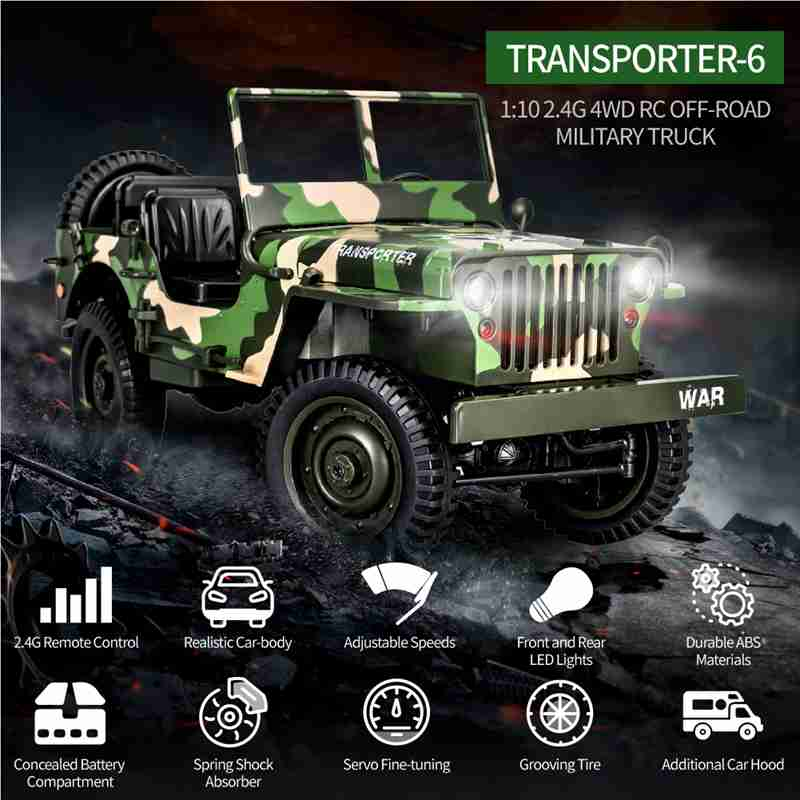 Eachine EC01 2.4G 1/10 4WD RC Climbing Car Jedi Transporter Camouflage Military Truck RTR RC Model Off-Road Vehicle Toys