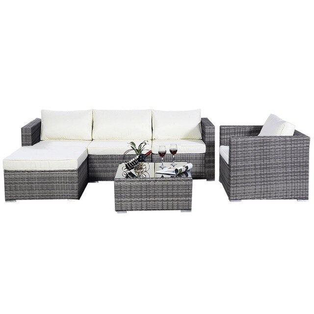 6 pcs Rattan Cushioned Sofa with Ottoman Steel and Rattan Sofa Set Durable Construction Tempered Glass Top Desk