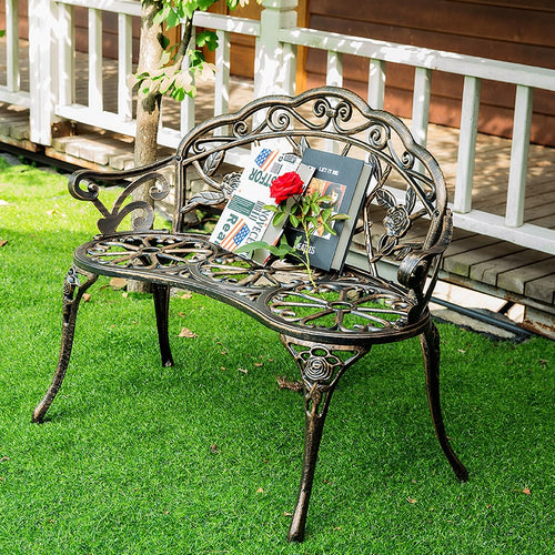 Love seat cast aluminum leisure chair park yard bench garden seat for outdoor furniture decoration rose design Bronze