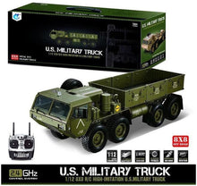 Load image into Gallery viewer, HG 1/12 RC US Military Truck Metal 8*8 Chasis Model 2.4G Radio Servo Motor P801 Without Light and Sound TH04720