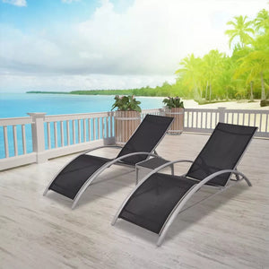 Outdoor Garden Relaxing Chair Sun Lounger with Table Aluminium Black Beach Lounge Chairs Outdoor Furniture