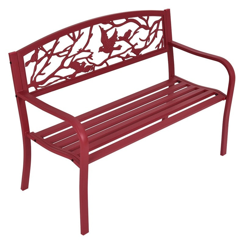 Modern Red Metal Patio Garden Bench Park Yard Outdoor Furniture High Quality OP3138