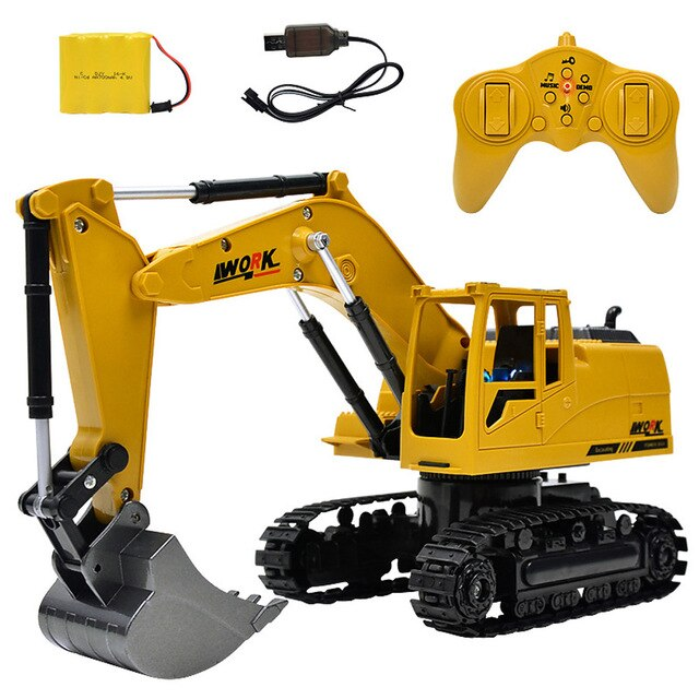 8CH Simulation RC CraneToys with Music and Light Children's Boys RC Truck Toys Gifts 1:24 Wireless Aolly RC Engineering Car