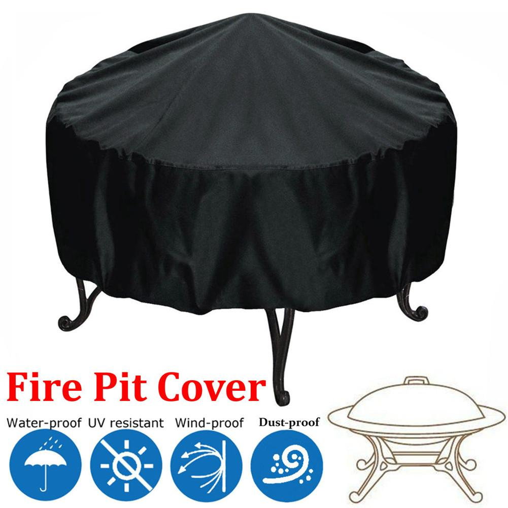 Diameter 44'' Patio Round Fire Pit Dust Cover UV Waterproof Protection Black Outdoor Round Adjustable Grill Dust-proof Cover 20E