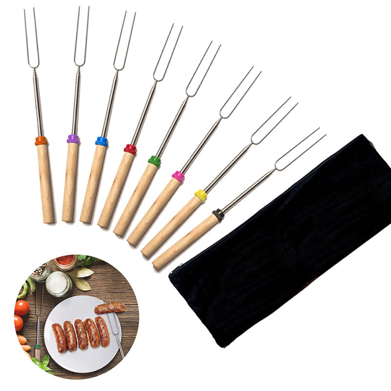 8pcs/lot Outdoor Cooking Fork Roasting Sticks Extending Roaster Set Telescoping Skewers Hot Dog Forks Fire Pit Camping Cookware