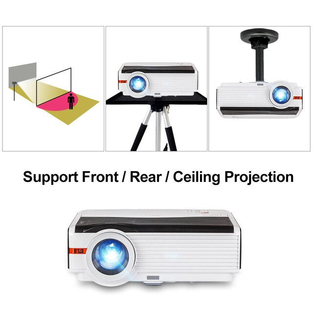 CAIWEI Digital LCD Projector Multimedia System Beamer For Home Theater Outdoor Movies Party Projection Support 1080P Video HDMI