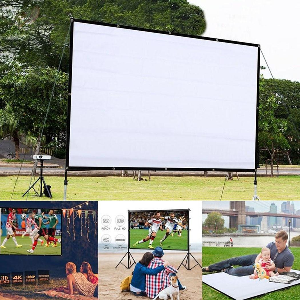 Foldable Anti-Crease For Home Theater Indoor 4:3 Outdoor 160 Projector Movie Screen Black
