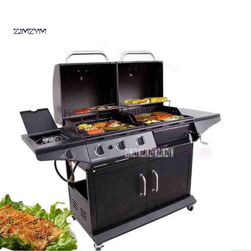 New BVQ8128 Outdoor Villa Courtyard Gas Charcoal Dual-use Barbecue Grill Household Commercial Barbecue Grill 10-20 People