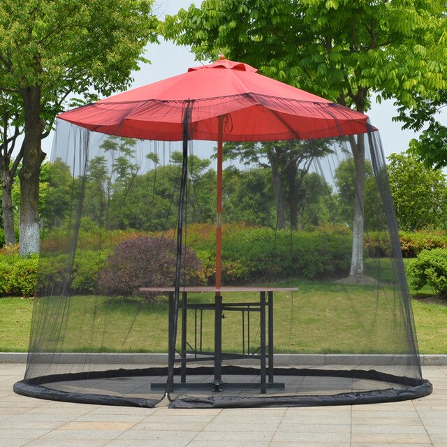 Mosquito Net Anti Insect Umbrella Cover Sunscreen Sun Protection Patio Outdoor Polyester Mesh See Through Table Zipper Closure
