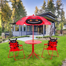 Load image into Gallery viewer, Kids Patio Folding Table Chairs Set Beetle Umbrella High Quality Outdoor Umbrella Beetle pattern Cover Sombrillas Para Jardin