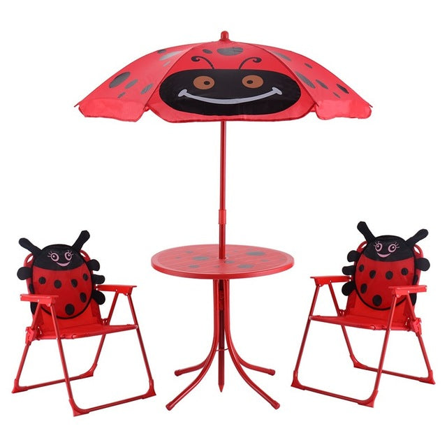Kids Patio Folding Table Chairs Set Beetle Umbrella High Quality Outdoor Umbrella Beetle pattern Cover Sombrillas Para Jardin