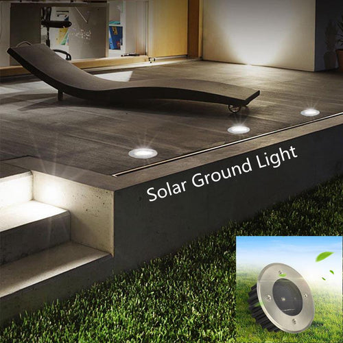 Yfashion New LED Solar Powered Underground lighting Lamp 4 LED Light Spots Outdoor Waterproof Buried Light Garden Decoration