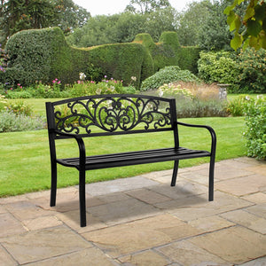"50"" Wrought Iron Sofa Chair Outdoor Bench Balcony Living Room Double Chair Park Chair Leisure Garden Table And Chair"