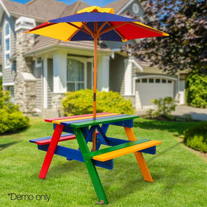 Outdoor Patio Benches For Drink Keezi Kids Wooden Picnic Table Set With Umbrella Useful Home Garden Bench A2
