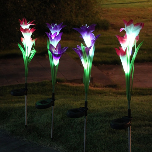 2 Pcs Waterproof 3 Artificial Lily Flowers Lawn Solar Lights Garden Outdoor LED Lights LB88