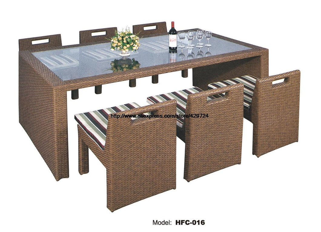 Glass Table Rattan Chair Combination Set Creative Leisure Outdoor Desk Outdoorentertainment