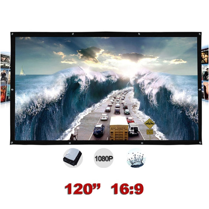 120 inches 16:9 Portable Wall Mounted Matt White Canvas Folding Outdoor Projector Screen for LED LCD HD Movie Projection Display
