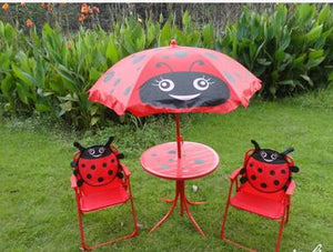 Children's folding tables and chairs. Four-piece. Cartoon outdoor rain table umbrella leisure portable beach table stool