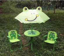 Load image into Gallery viewer, Children's folding tables and chairs. Four-piece. Cartoon outdoor rain table umbrella leisure portable beach table stool