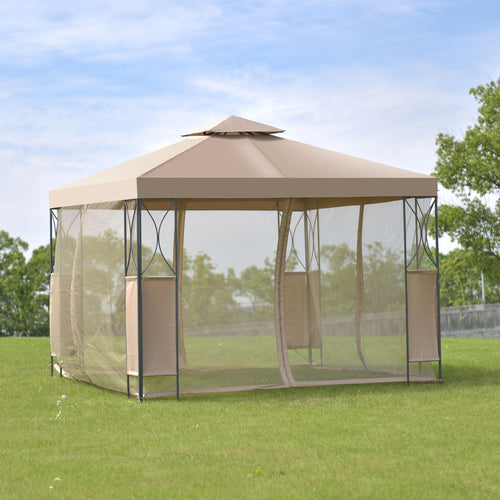 Goplus 2 -Tier 10 'X10 'Gazebo Canopy Tent Shelter Awning Steel Frame Patio Garden Party Wedding Tent Brown Cover OP3116CF