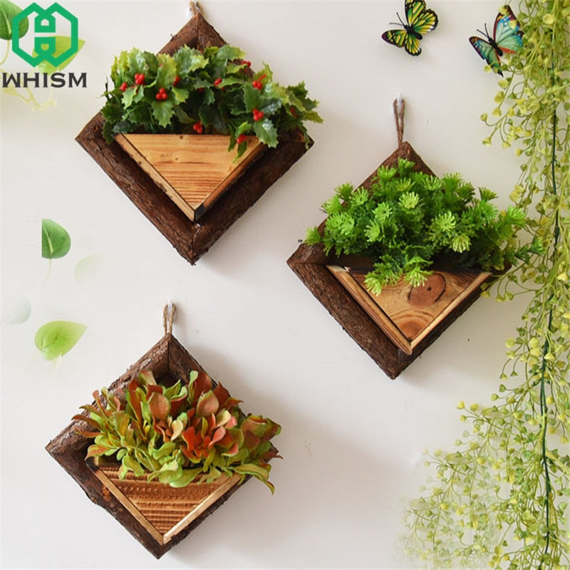 WHISM Wall Hanging Flower Pots Wooden Flower Container Wood Ornamental Hanging Baskets Wall Mount Flowerpots Garden Planter