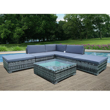 Load image into Gallery viewer, Panana 6PCS Rattan Outdoor Garden Furniture Patio Coffee Table and Corner Sofa Set Ottoman PE Wicker Steel Frame