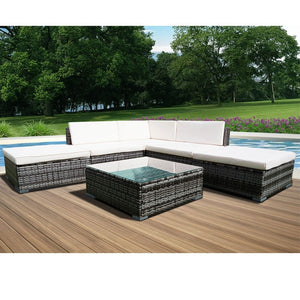 Panana 6PCS Rattan Outdoor Garden Furniture Patio Coffee Table and Corner Sofa Set Ottoman PE Wicker Steel Frame