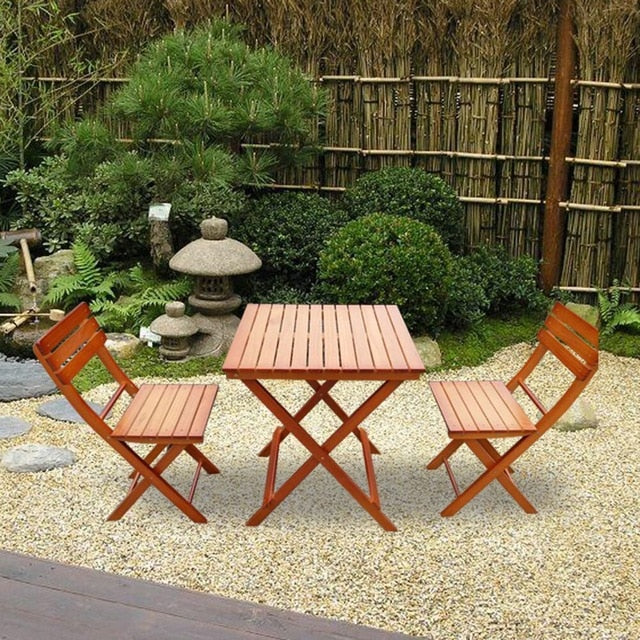 Panana Wooden Furniture Set Balcony Patio Folding Table and set of 2 Chairs Camping Outdoor Dining Stand set