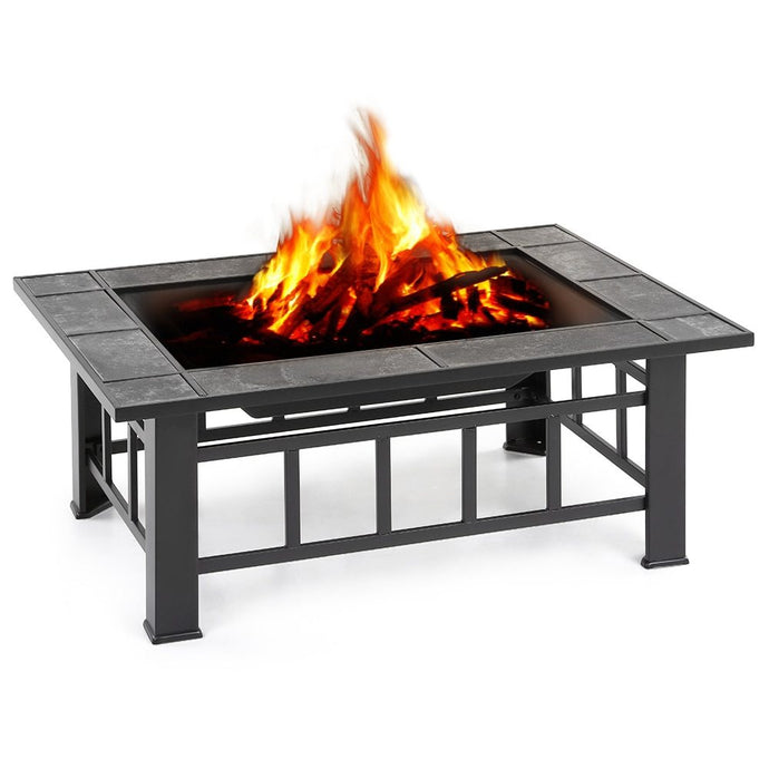 Metal Garden Backyard Fire Pit Patio Rectangular Firepit Stove Brazier Outdoor Fireplace W/ Firepit Cover&Poker+BBQ Grill