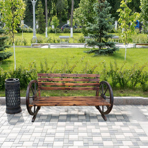 Panana Stylish Garden Wooden Bench with Wagon Wheel 2 Seater Bench Outdoor Patio Furniture
