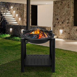 "Outdoor Four Feet Iron Brazier 22"" Backyard Poolside Garden Wood Burning Fire Pit Decoration With A Shelf"
