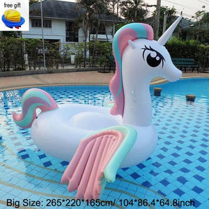 200/265cm 104 Inch Giant Inflatable Unicorn Water Toys Inflatable Pool Float Swimming Laps  Beach Air Mattress for Swimming Pool