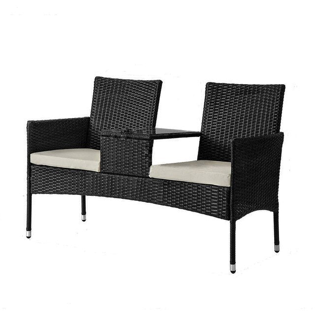 Wicker Chair Double-Seat Outdoor Loveseat Furniture Wicker Patio Furniture Lounge Chair Chat Set Small Outdoor Table and Chairs