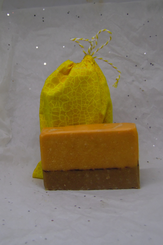 Sweet oraange and chili scented goats milk soap.  Made from goats milk from here on our farm