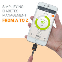 Load image into Gallery viewer, Diabetes Blood Sugar Monitoring Kit for iPhone: Dario LC Blood Glucose Monitoring System Includes Glucose Meter, 25 Test Strips, 10 Sterile Lancets, 10 Disposable Covers. All-in-One Glucometer
