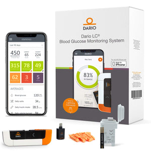 Diabetes Blood Sugar Monitoring Kit for iPhone: Dario LC Blood Glucose Monitoring System Includes Glucose Meter, 25 Test Strips, 10 Sterile Lancets, 10 Disposable Covers. All-in-One Glucometer