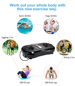 iDeer Vibration Platform Fitness Vibration Plates,Whole Body Vibration Exercise Machine w/Remote Control &Bands,Anti-Slip Fit Massage Workout Vibration Trainer Max User Weight 330lbs (Black09001)