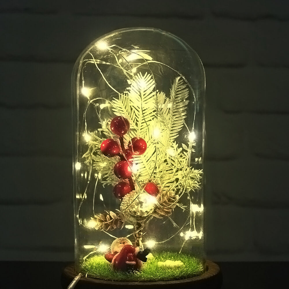 Christmas Glass Cloche Light Decor